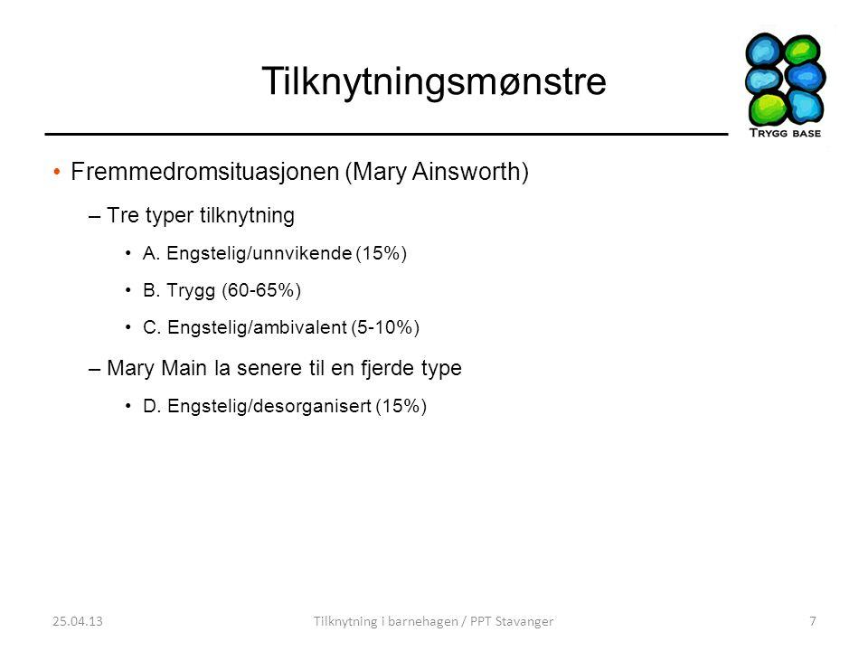 Tilknytningsmønstre •Fremmedromsituasjonen (Mary Ainsworth) –Tre typer tilknytning •A. Engstelig/unnvikende (15%) •B. Trygg (60-65%) •C. Engstelig/amb