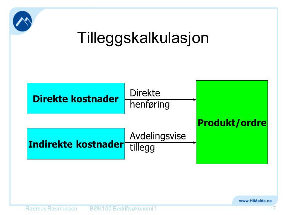 Tilleggskalkulasjon Rasmus RasmussenBØK100 Bedriftsøkonomi 1 17 Direkte kostnader Indirekte kostnader Produkt/ordre Direkte henføring Avdelingsvise tillegg