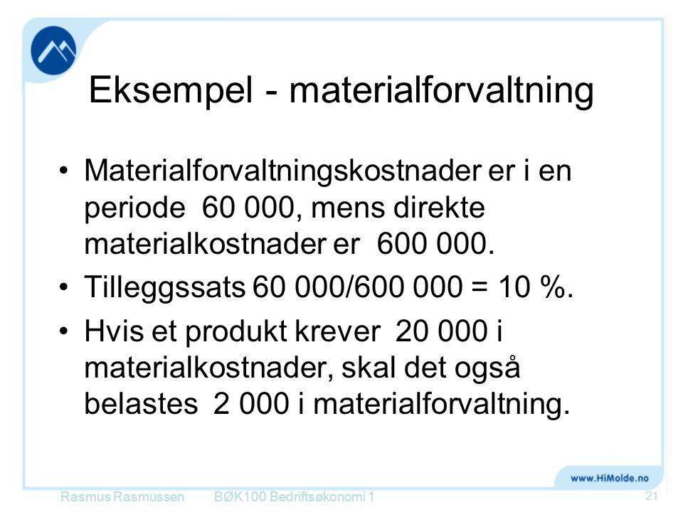 Eksempel - materialforvaltning •Materialforvaltningskostnader er i en periode 60 000, mens direkte materialkostnader er 600 000. •Tilleggssats 60 000/