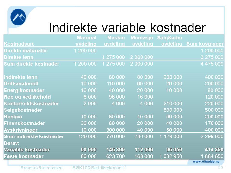 Indirekte variable kostnader Rasmus RasmussenBØK100 Bedriftsøkonomi 1 30