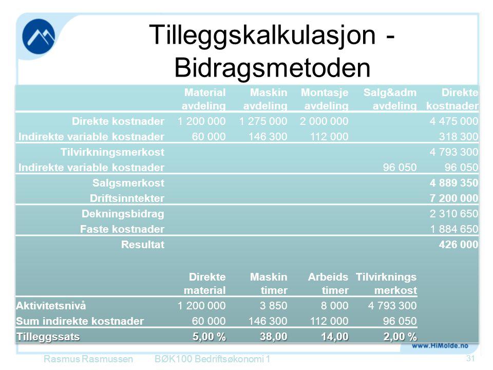 Tilleggskalkulasjon - Bidragsmetoden Rasmus RasmussenBØK100 Bedriftsøkonomi 1 31
