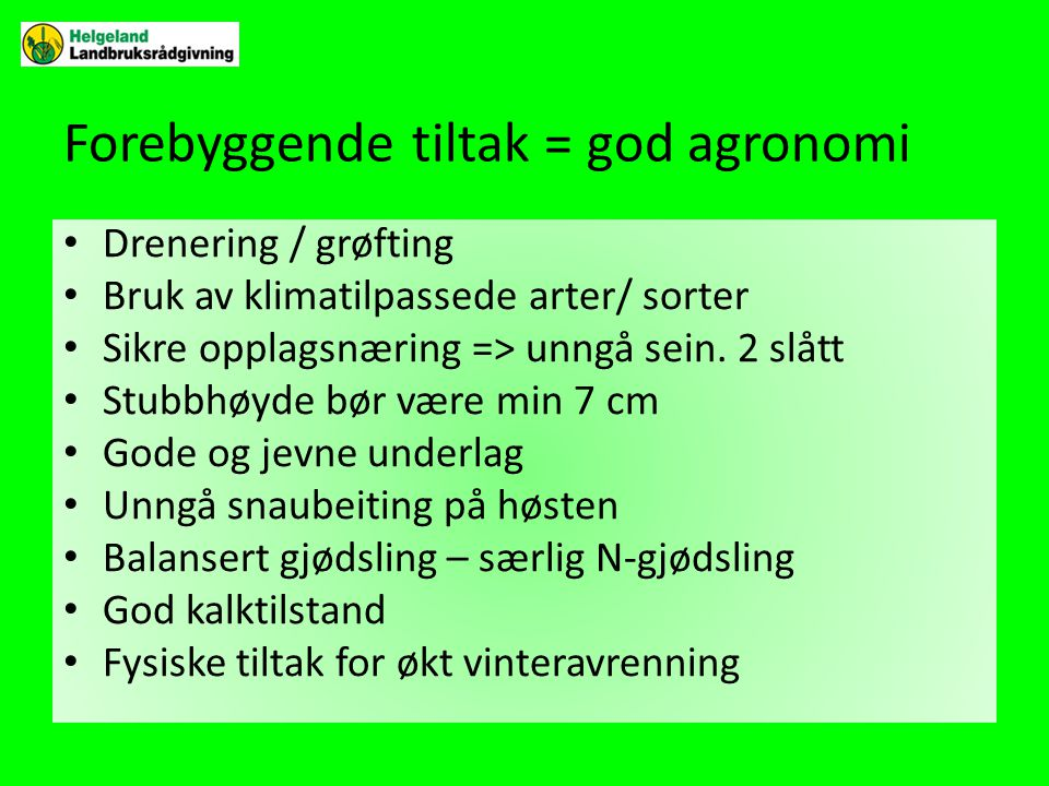 Forebyggende tiltak = god agronomi • Drenering / grøfting • Bruk av klimatilpassede arter/ sorter • Sikre opplagsnæring => unngå sein.