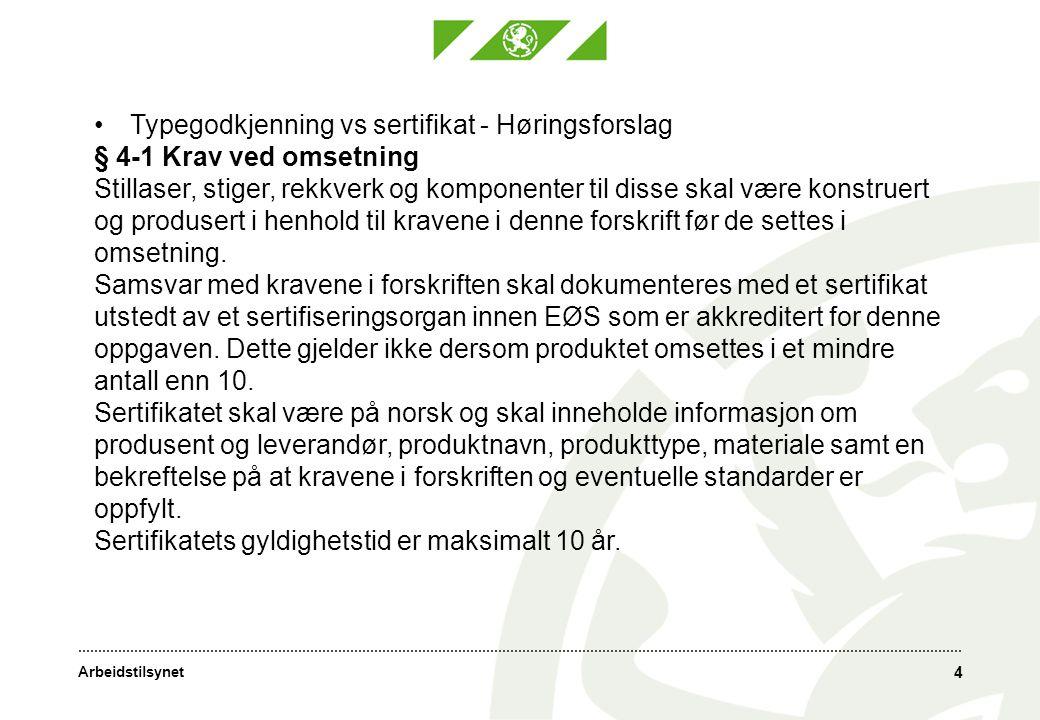 Arbeidstilsynet § 4-2 Merking Arbeidsutstyr som skal ha sertifikat i henhold til § 4-1 andre ledd, skal være varig og synlig merket med produsentens navn, eller dennes registrerte varemerke, og produksjonsår.