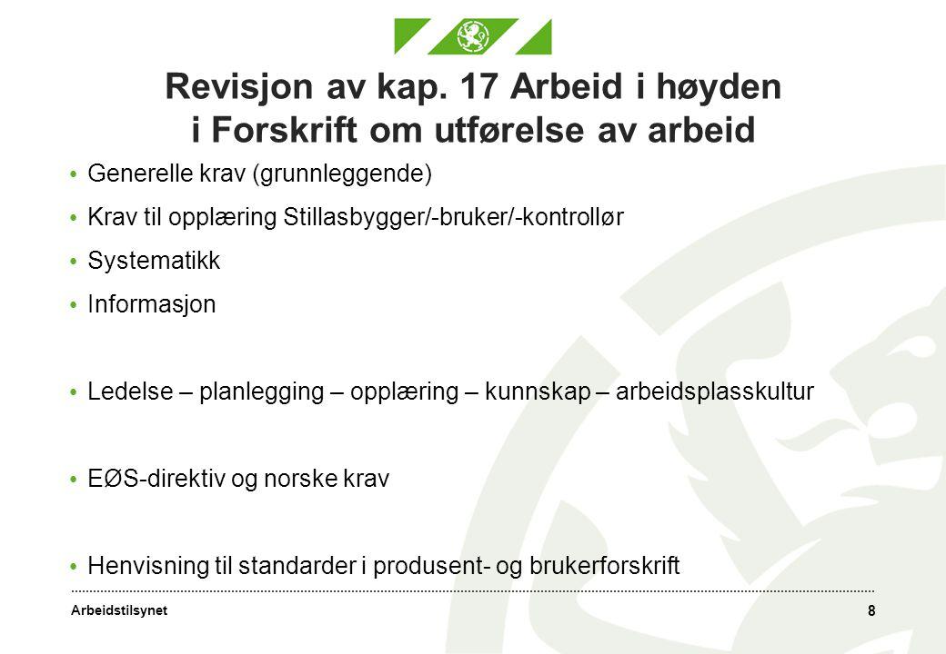 Arbeidstilsynet Revisjon av kap. 17 Arbeid i høyden i Forskrift om utførelse av arbeid • Generelle krav (grunnleggende) • Krav til opplæring Stillasby