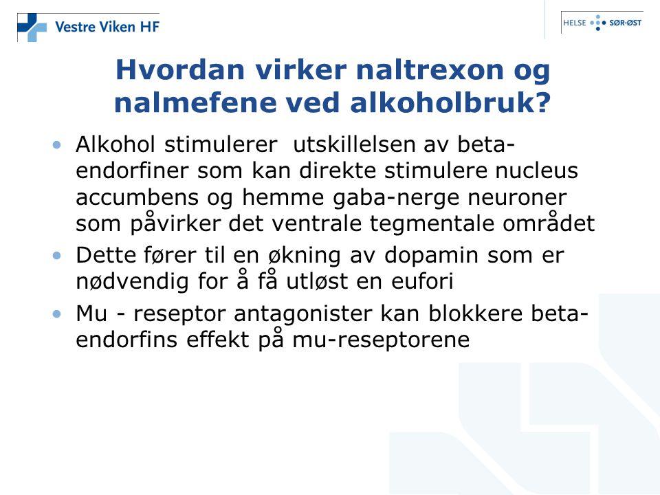 Hvordan virker naltrexon og nalmefene ved alkoholbruk.