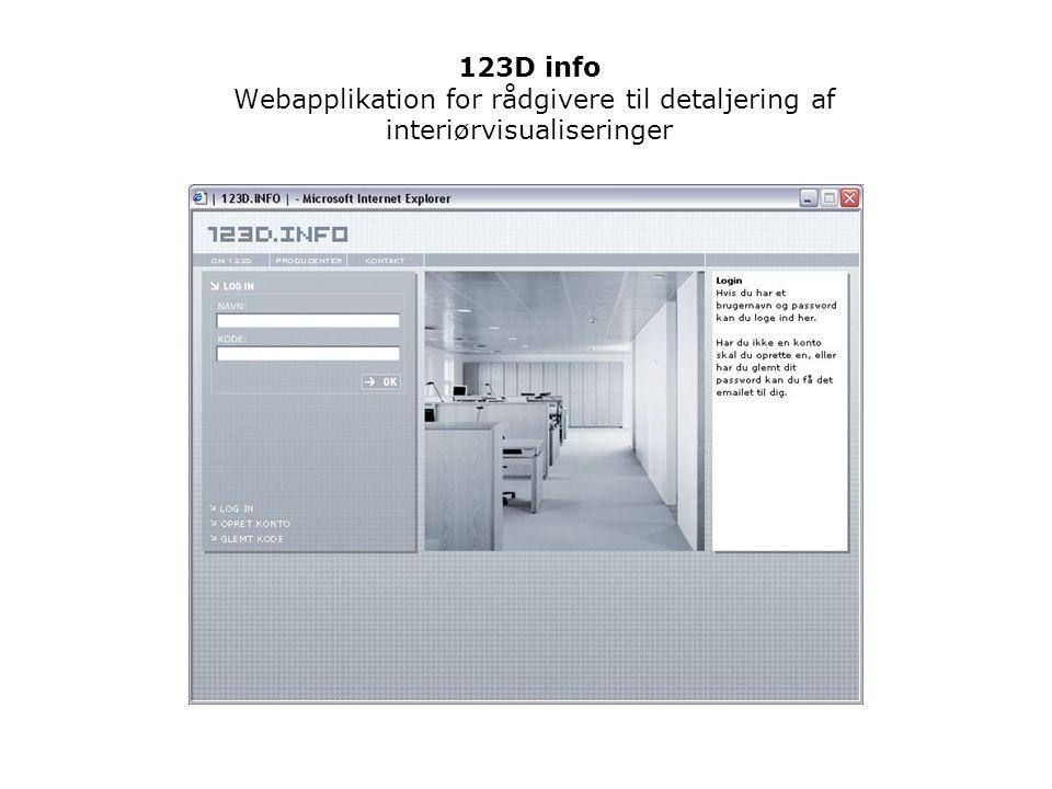 123D info Webapplikation for rådgivere til detaljering af interiørvisualiseringer