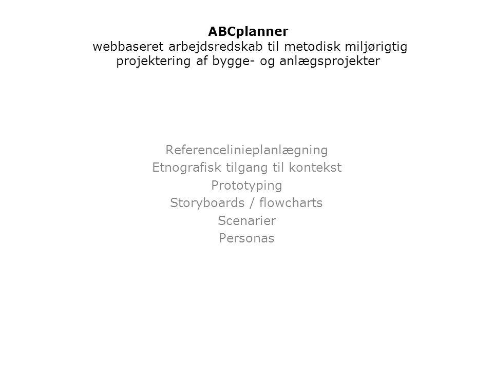 Referencelinieplanlægning Etnografisk tilgang til kontekst Prototyping Storyboards / flowcharts Scenarier Personas