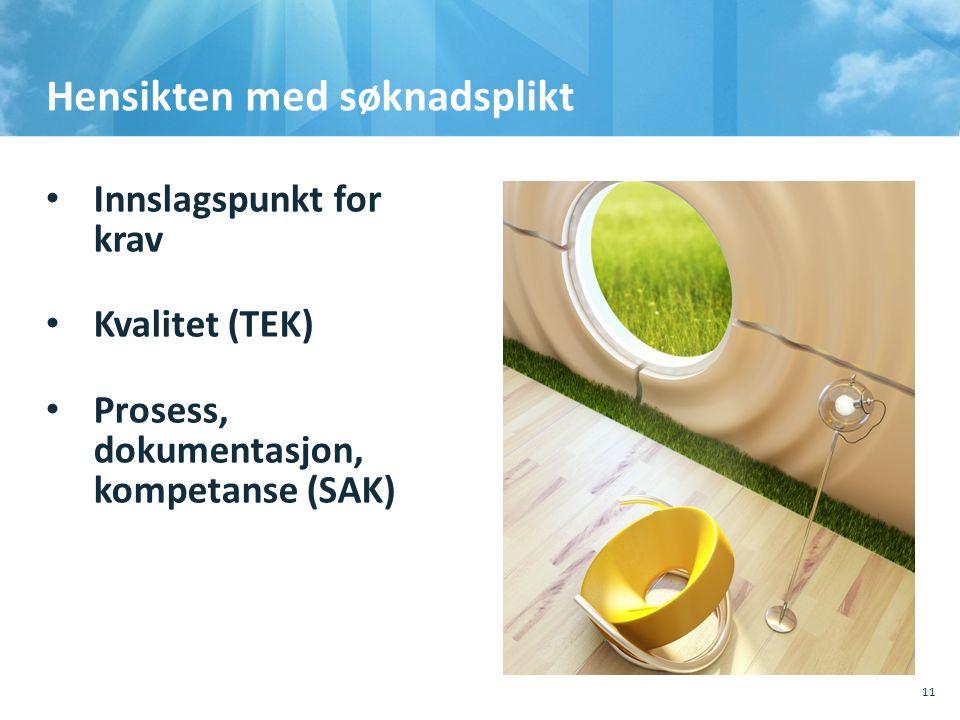 Hensikten med søknadsplikt • Innslagspunkt for krav • Kvalitet (TEK) • Prosess, dokumentasjon, kompetanse (SAK) 10.10.201110.10.2011, Sted, tema, Sted