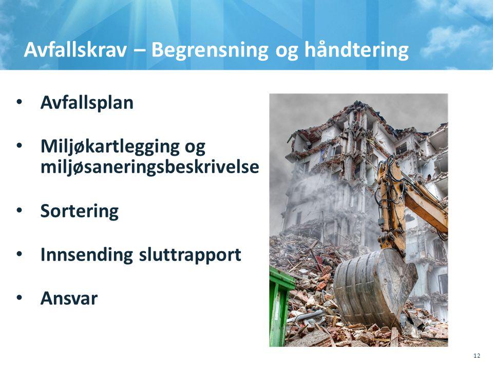 Avfallskrav – Begrensning og håndtering • Avfallsplan • Miljøkartlegging og miljøsaneringsbeskrivelse • Sortering • Innsending sluttrapport • Ansvar 1
