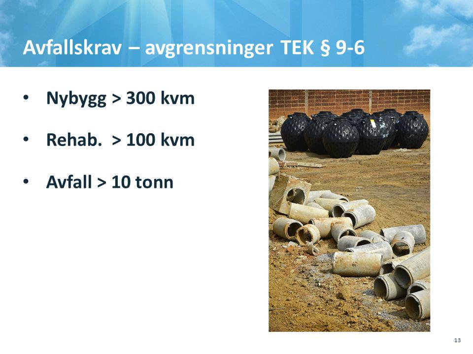 Avfallskrav – avgrensninger TEK § 9-6 • Nybygg > 300 kvm • Rehab. > 100 kvm • Avfall > 10 tonn 10.10.201110.10.2011, Sted, tema, Sted, tema 13