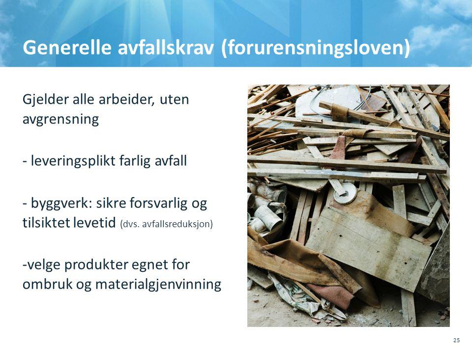 Generelle avfallskrav (forurensningsloven) Gjelder alle arbeider, uten avgrensning - leveringsplikt farlig avfall - byggverk: sikre forsvarlig og t