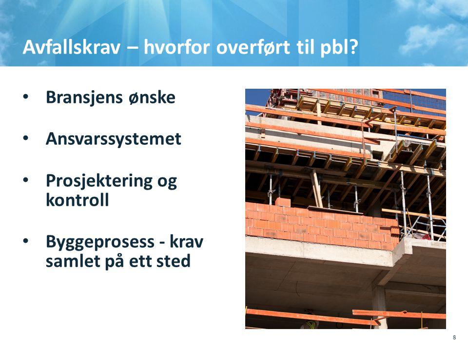Avfallskrav – hvorfor overført til pbl? • Bransjens ønske • Ansvarssystemet • Prosjektering og kontroll • Byggeprosess - krav samlet på ett sted 10.10