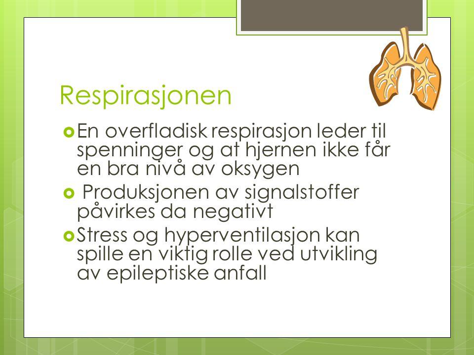 Respirasjonen  En overfladisk respirasjon leder til spenninger og at hjernen ikke får en bra nivå av oksygen  Produksjonen av signalstoffer påvirkes