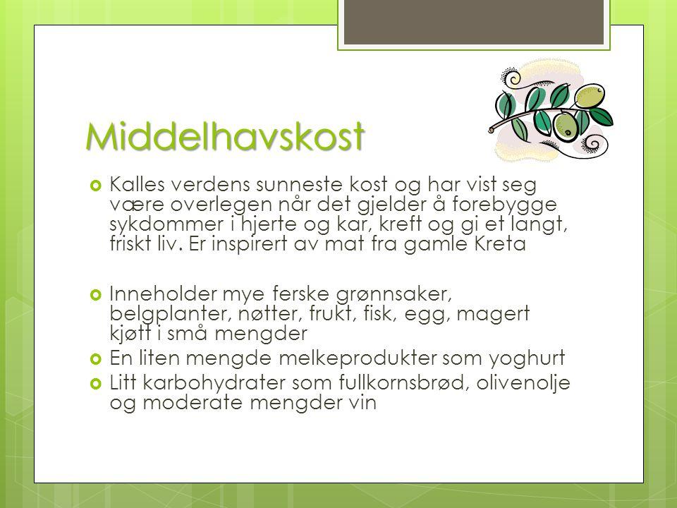 Middelhavskost  Kalles verdens sunneste kost og har vist seg være overlegen når det gjelder å forebygge sykdommer i hjerte og kar, kreft og gi et lan