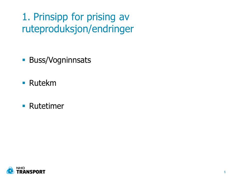 1. Prinsipp for prising av ruteproduksjon/endringer  Buss/Vogninnsats  Rutekm  Rutetimer 6