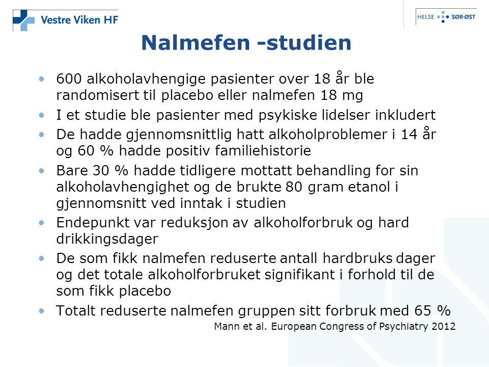 Nalmefen -studien •600 alkoholavhengige pasienter over 18 år ble randomisert til placebo eller nalmefen 18 mg •I et studie ble pasienter med psykiske lidelser inkludert •De hadde gjennomsnittlig hatt alkoholproblemer i 14 år og 60 % hadde positiv familiehistorie •Bare 30 % hadde tidligere mottatt behandling for sin alkoholavhengighet og de brukte 80 gram etanol i gjennomsnitt ved inntak i studien •Endepunkt var reduksjon av alkoholforbruk og hard drikkingsdager •De som fikk nalmefen reduserte antall hardbruks dager og det totale alkoholforbruket signifikant i forhold til de som fikk placebo •Totalt reduserte nalmefen gruppen sitt forbruk med 65 % Mann et al.
