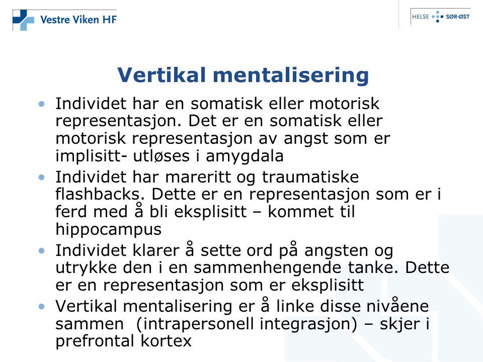 Vertikal mentalisering •Individet har en somatisk eller motorisk representasjon.