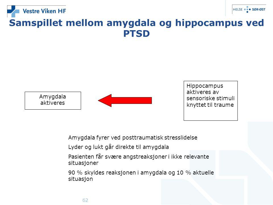 62 Samspillet mellom amygdala og hippocampus ved PTSD Amygdala aktiveres Hippocampus aktiveres av sensoriske stimuli knyttet til traume Amygdala fyrer ved posttraumatisk stresslidelse Lyder og lukt går direkte til amygdala Pasienten får svære angstreaksjoner i ikke relevante situasjoner 90 % skyldes reaksjonen i amygdala og 10 % aktuelle situasjon