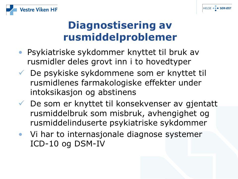 Diagnostisering av rusmiddelproblemer •Psykiatriske sykdommer knyttet til bruk av rusmidler deles grovt inn i to hovedtyper  De psykiske sykdommene som er knyttet til rusmidlenes farmakologiske effekter under intoksikasjon og abstinens  De som er knyttet til konsekvenser av gjentatt rusmiddelbruk som misbruk, avhengighet og rusmiddelinduserte psykiatriske sykdommer •Vi har to internasjonale diagnose systemer ICD-10 og DSM-IV