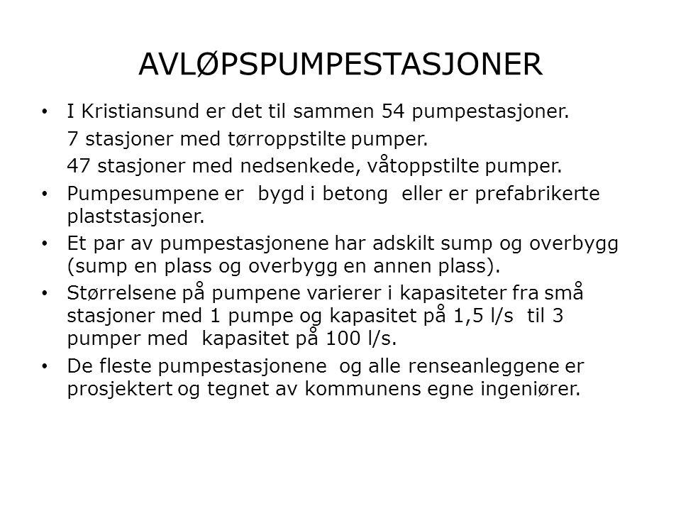 AVLØPSPUMPESTASJONER • I Kristiansund er det til sammen 54 pumpestasjoner. 7 stasjoner med tørroppstilte pumper. 47 stasjoner med nedsenkede, våtoppst