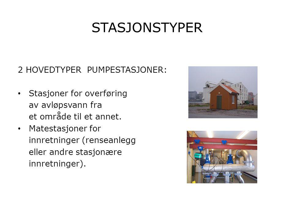 STASJONSTYPER 2 HOVEDTYPER PUMPESTASJONER: • Stasjoner for overføring av avløpsvann fra et område til et annet. • Matestasjoner for innretninger (rens