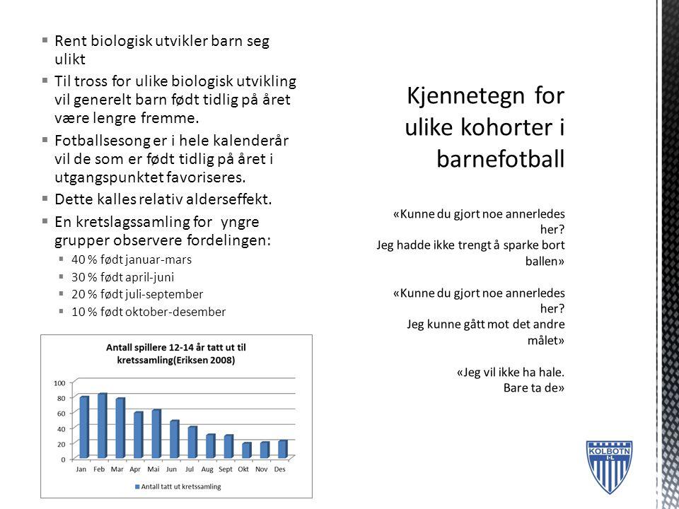  Rent biologisk utvikler barn seg ulikt  Til tross for ulike biologisk utvikling vil generelt barn født tidlig på året være lengre fremme.  Fotball