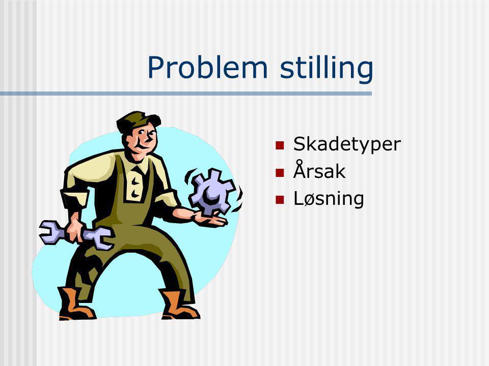 Problem stilling SSkadetyper ÅÅrsak LLøsning