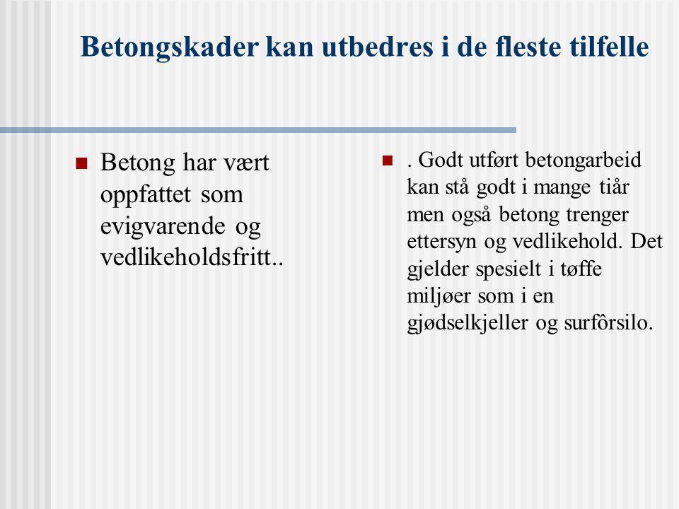 Betongskader kan utbedres i de fleste tilfelle  Betong har vært oppfattet som evigvarende og vedlikeholdsfritt..