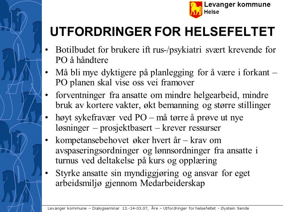 Levanger kommune Helse Levanger kommune – Dialogseminar 13.-14-03.07, Åre – Utfordringer for helsefeltet - Øystein Sende UTFORDRINGER FOR HELSEFELTET