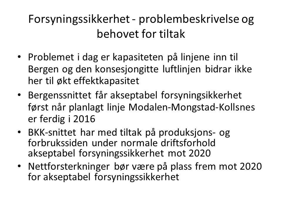 Forsyningssikkerhet - problembeskrivelse og behovet for tiltak • Problemet i dag er kapasiteten på linjene inn til Bergen og den konsesjongitte luftli