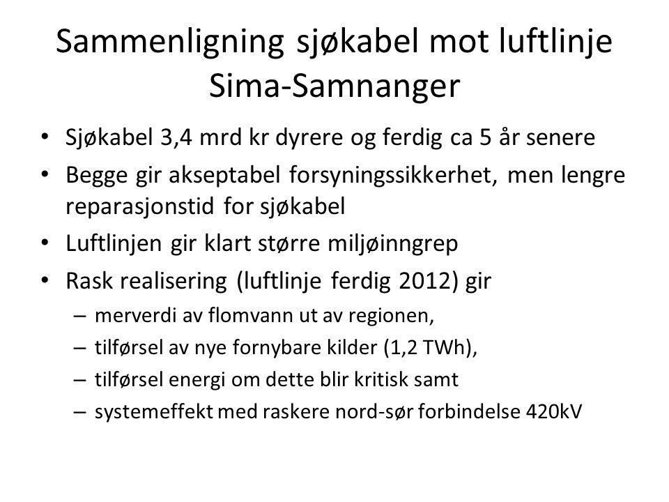 Sammenligning sjøkabel mot luftlinje Sima-Samnanger • Sjøkabel 3,4 mrd kr dyrere og ferdig ca 5 år senere • Begge gir akseptabel forsyningssikkerhet,