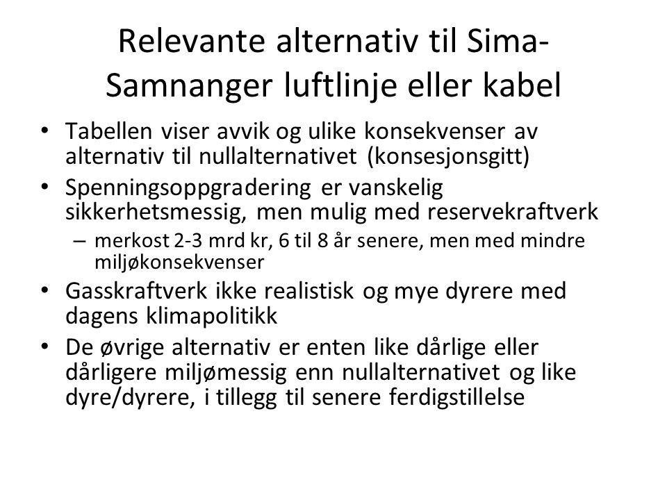 Relevante alternativ til Sima- Samnanger luftlinje eller kabel • Tabellen viser avvik og ulike konsekvenser av alternativ til nullalternativet (konses