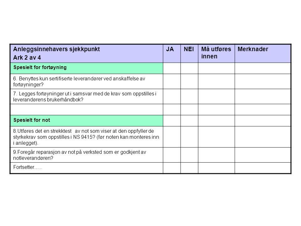Anleggsinnehavers sjekkpunkt Ark 3 av 4 JANEIMå utføres innen Merknader Eksisterende anlegg: 10.