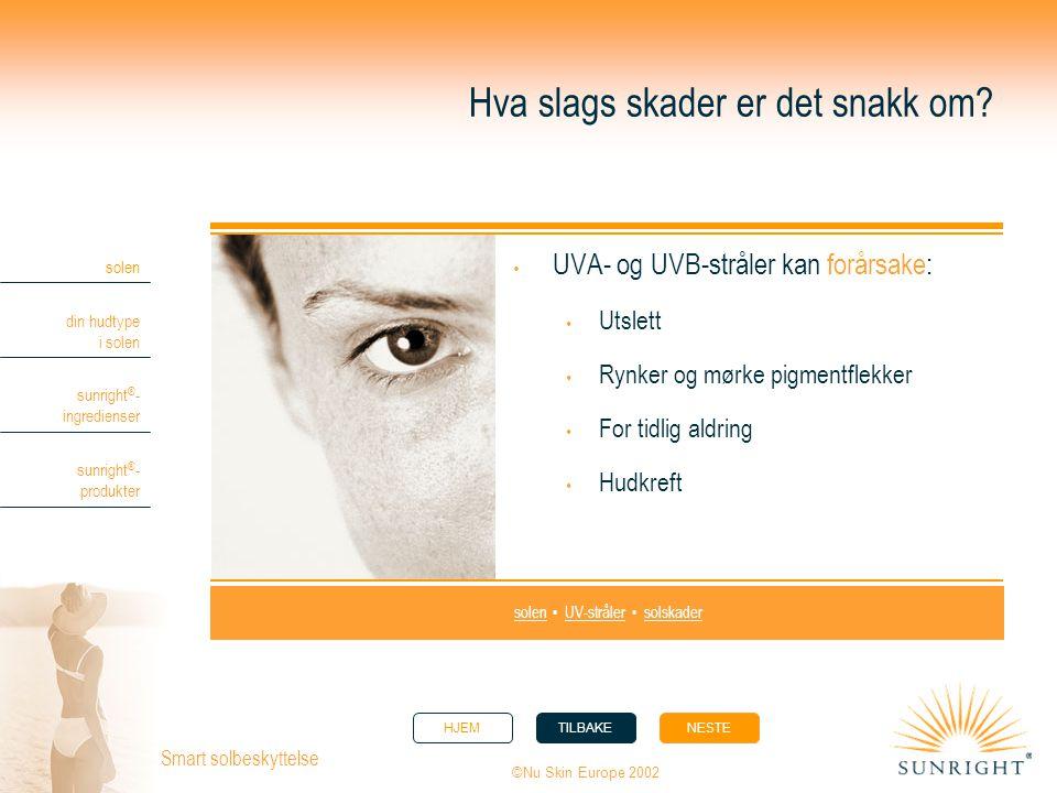 HJEMTILBAKENESTE solen din hudtype i solen sunright ® - ingredienser sunright ® - produkter ©Nu Skin Europe 2002 Smart solbeskyttelse Hva slags skader