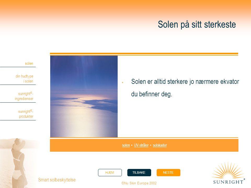 HJEMTILBAKENESTE solen din hudtype i solen sunright ® - ingredienser sunright ® - produkter ©Nu Skin Europe 2002 Smart solbeskyttelse Solen på sitt st