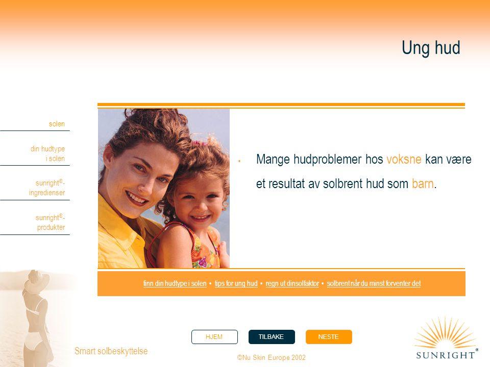 HJEMTILBAKENESTE solen din hudtype i solen sunright ® - ingredienser sunright ® - produkter ©Nu Skin Europe 2002 Smart solbeskyttelse finn din hudtype