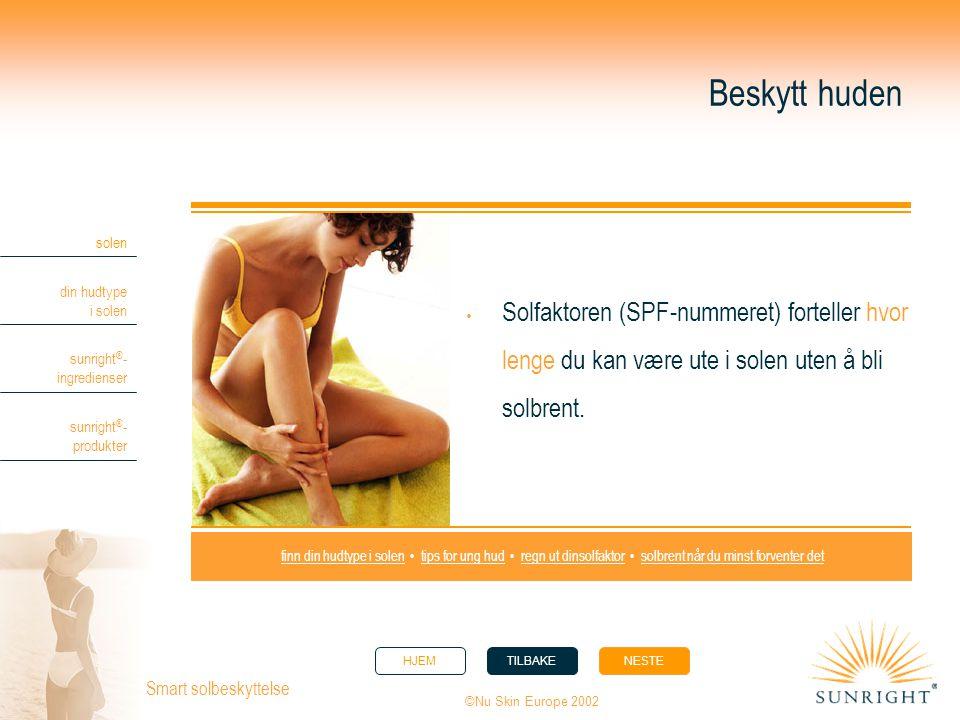 HJEMTILBAKENESTE solen din hudtype i solen sunright ® - ingredienser sunright ® - produkter ©Nu Skin Europe 2002 Smart solbeskyttelse Beskytt huden 