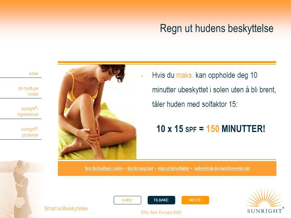 HJEMTILBAKENESTE solen din hudtype i solen sunright ® - ingredienser sunright ® - produkter ©Nu Skin Europe 2002 Smart solbeskyttelse Regn ut hudens b