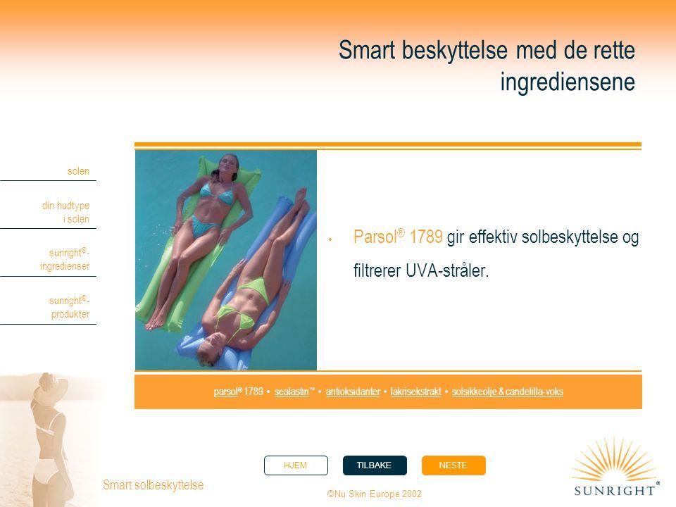 HJEMTILBAKENESTE solen din hudtype i solen sunright ® - ingredienser sunright ® - produkter ©Nu Skin Europe 2002 Smart solbeskyttelse Smart beskyttels