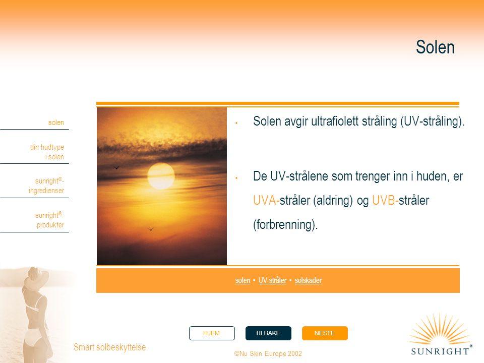 HJEMTILBAKENESTE solen din hudtype i solen sunright ® - ingredienser sunright ® - produkter ©Nu Skin Europe 2002 Smart solbeskyttelse Sunright ® BodyBlock SPF30  Solid, vannfast produkt.