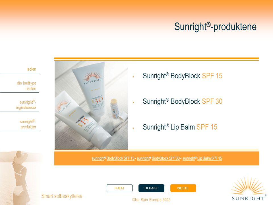HJEMTILBAKENESTE solen din hudtype i solen sunright ® - ingredienser sunright ® - produkter ©Nu Skin Europe 2002 Smart solbeskyttelse Sunright ® -prod