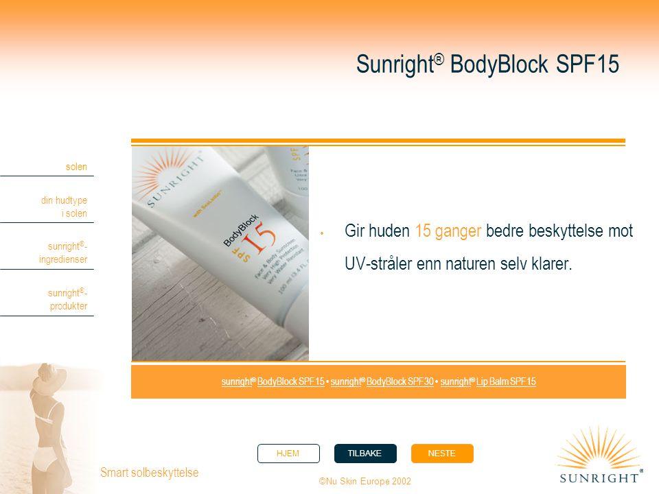 HJEMTILBAKENESTE solen din hudtype i solen sunright ® - ingredienser sunright ® - produkter ©Nu Skin Europe 2002 Smart solbeskyttelse Sunright ® BodyB