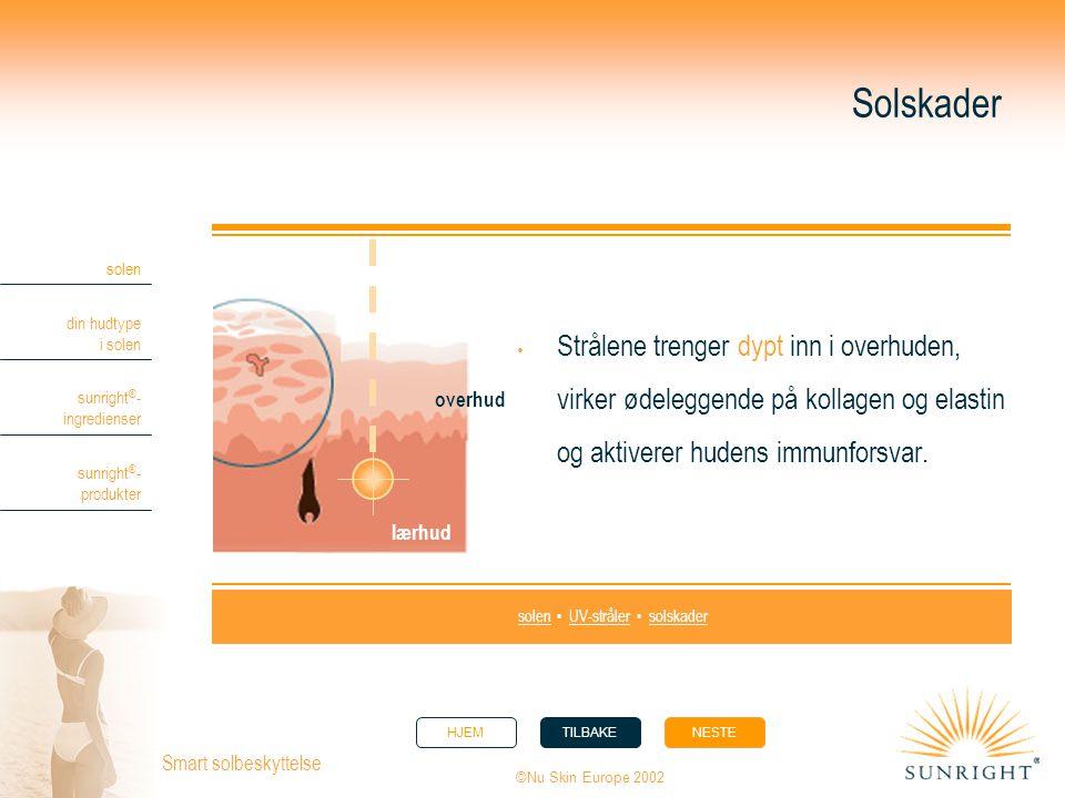 HJEMTILBAKENESTE solen din hudtype i solen sunright ® - ingredienser sunright ® - produkter ©Nu Skin Europe 2002 Smart solbeskyttelse Solskader  Strå