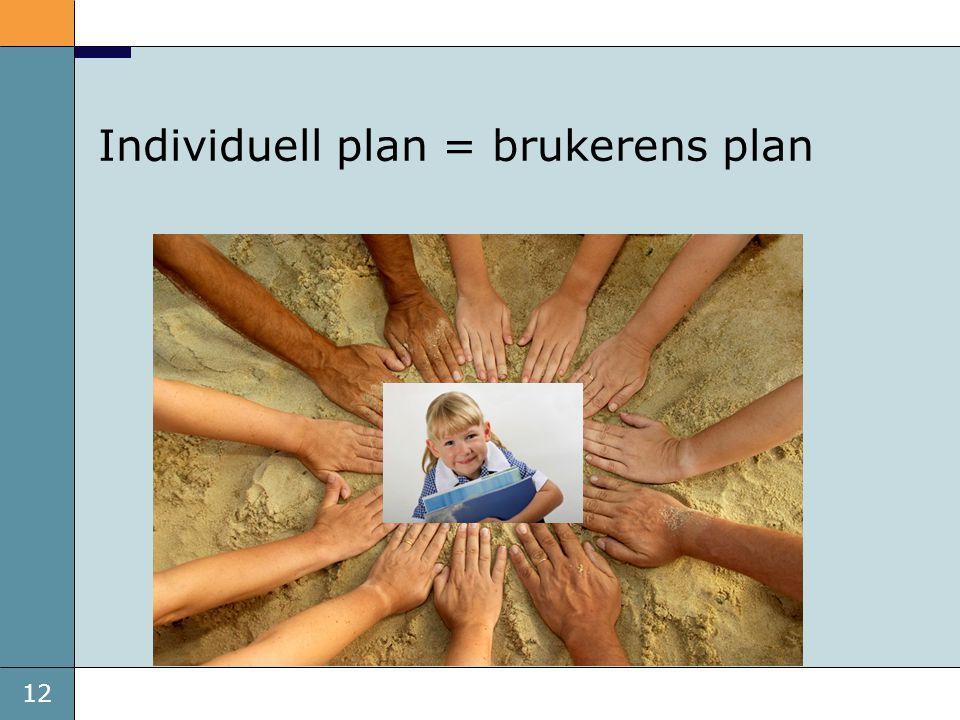 12 Individuell plan = brukerens plan