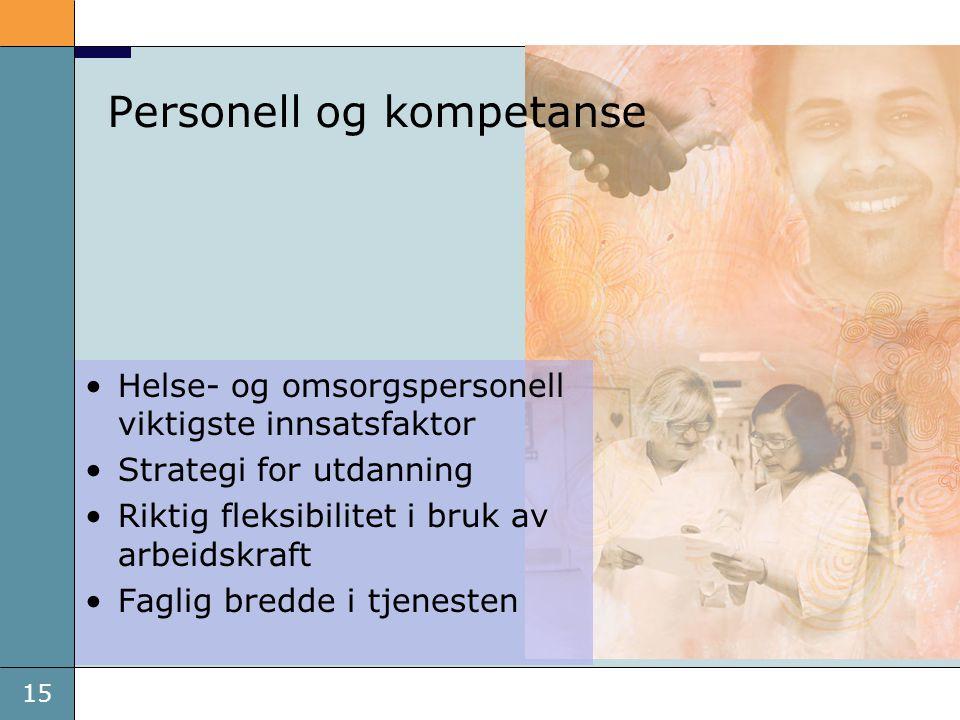 15 Personell og kompetanse •Helse- og omsorgspersonell viktigste innsatsfaktor •Strategi for utdanning •Riktig fleksibilitet i bruk av arbeidskraft •F