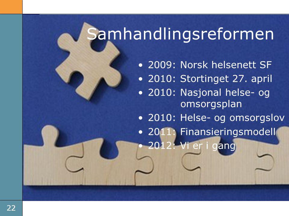 22 Brikkene faller på plass •2009: Norsk helsenett SF •2010: Stortinget 27. april •2010: Nasjonal helse- og omsorgsplan •2010: Helse- og omsorgslov •2