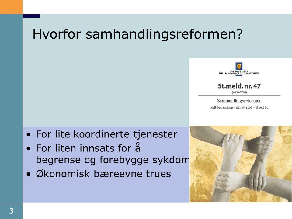 3 Hvorfor samhandlingsreformen? •For lite koordinerte tjenester •For liten innsats for å begrense og forebygge sykdom •Økonomisk bæreevne trues