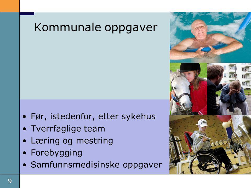9 Kommunale oppgaver •Før, istedenfor, etter sykehus •Tverrfaglige team •Læring og mestring •Forebygging •Samfunnsmedisinske oppgaver