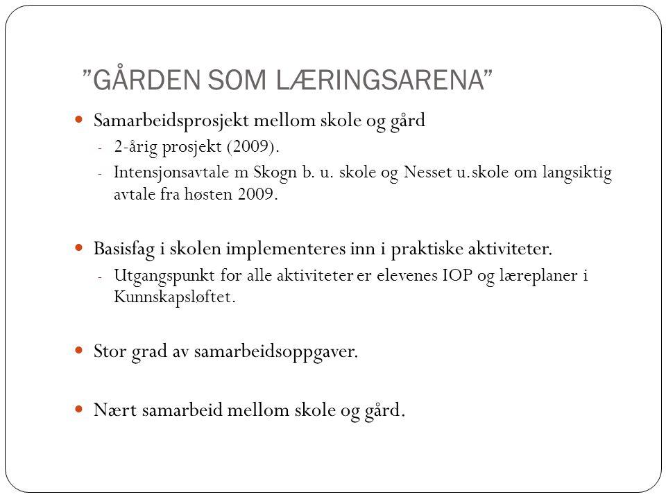 """""""GÅRDEN SOM LÆRINGSARENA""""  Samarbeidsprosjekt mellom skole og gård - 2-årig prosjekt (2009). - Intensjonsavtale m Skogn b. u. skole og Nesset u.skole"""