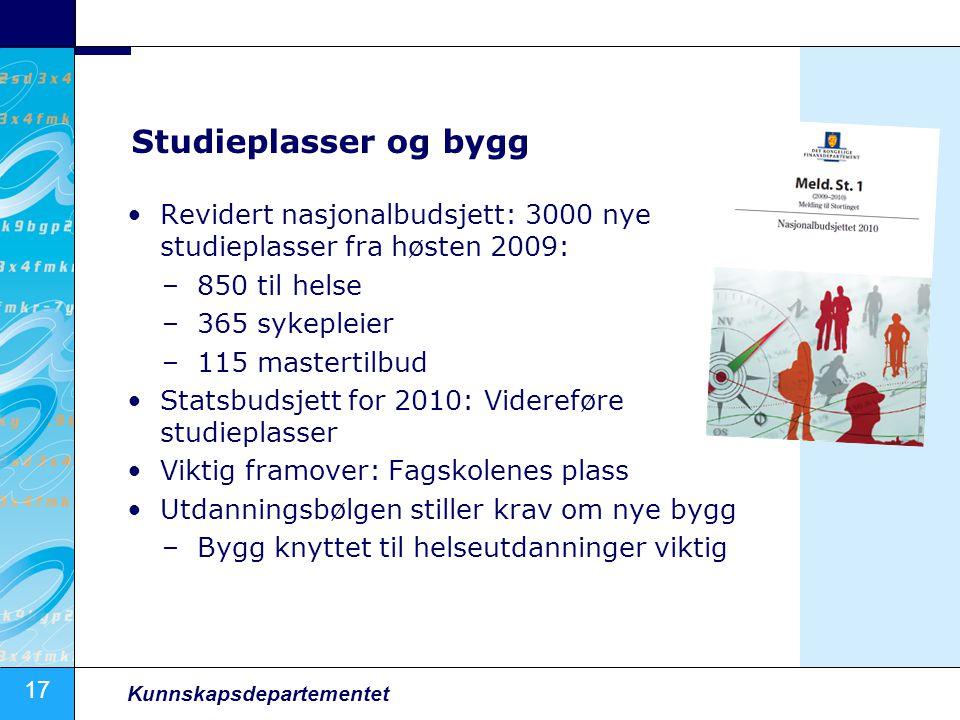 17 Kunnskapsdepartementet Studieplasser og bygg •Revidert nasjonalbudsjett: 3000 nye studieplasser fra høsten 2009: –850 til helse –365 sykepleier –11
